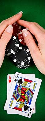 blackjack woman hands on chips