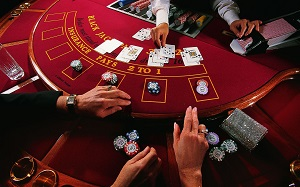 Red Blackjack Table