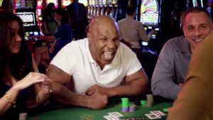 Mike Tyson asks the dealer to hit him at the Turning Stone Casino in NY.