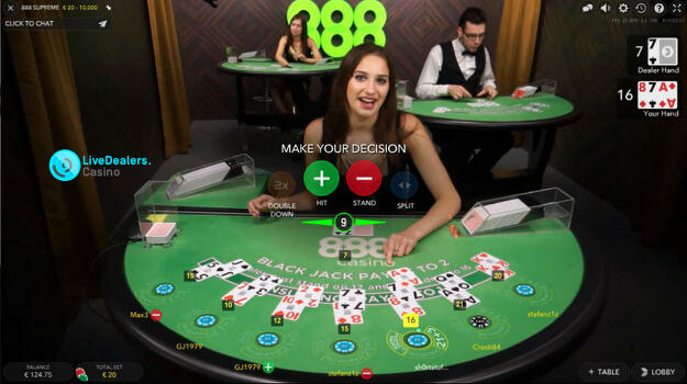 888 casino live blackjack rules